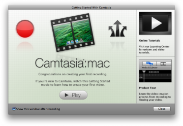 Screenshot of Landing page for Camtasia on Mac
