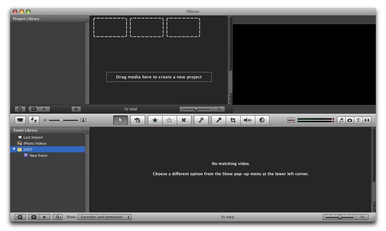 Screenshot of starting page of iMovie '08